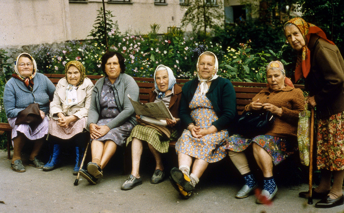 Letters Not About Love Special Still: Russian seniors sitting on a bench
