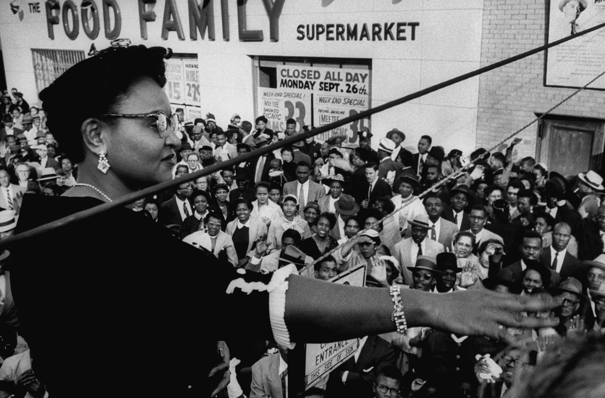 Mamie Bradley speaking to anti-lynching rally after acquittal of men accused of killing her son, Emmett Till, in 1955. (Grey Villet — The LIFE Picture Collection/Getty)